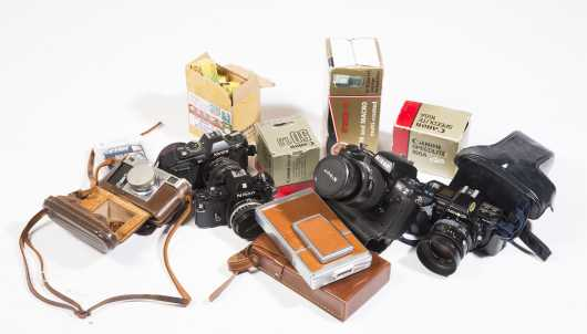 Lot of Vintage Cameras, Equipment, and Accessories