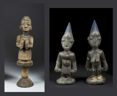 A Decorative Yoruba Eshu Wand and a Pair of Ibeji Figures