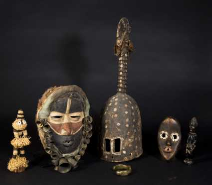 A Group of Decorative African Masks and Objects - AVAILABLE FOR $75