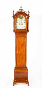 Inlaid American Mahogany Tall Case Clock