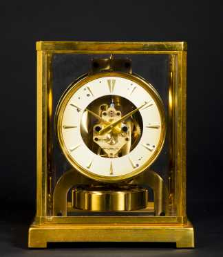 """Atmos"" Brass and Glass Shelf Clock, made by the Le Coultre Co, Swiss"