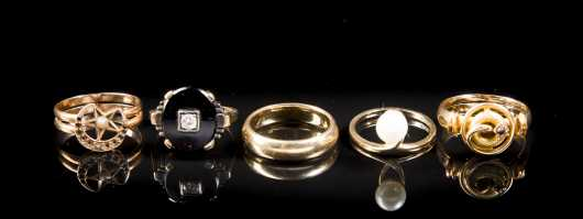 Lot of Five Yellow Gold Ladies Rings