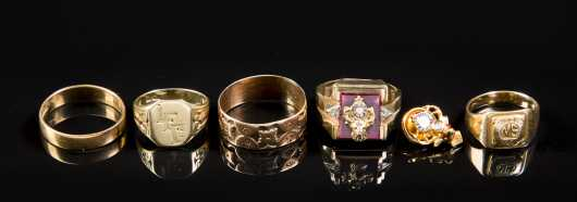 Lot of Five Gold Men's Rings and Pin