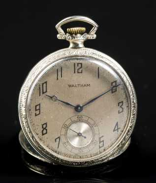 14kt. White Gold Waltham Pocket Watch