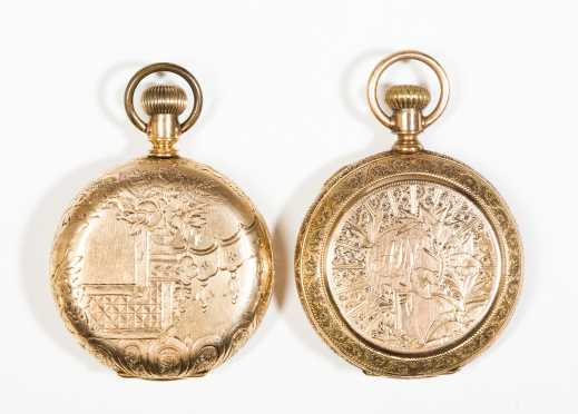 Two Ornate 14kt. Gold Pocket Watches