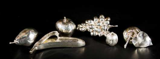 Six Sterling Silver Pieces of Fruit