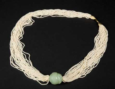 Seed Bead and Chrysoprase Necklace