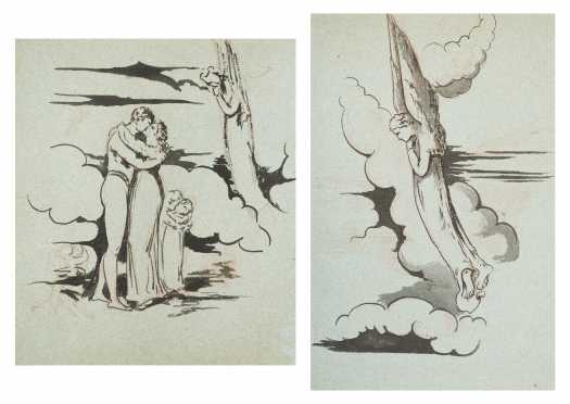 William Blake, England (1757-1827) Attributed Pair of Compositional Drawings