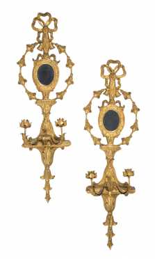 Pair of Decorative Gilded Wall Sconces