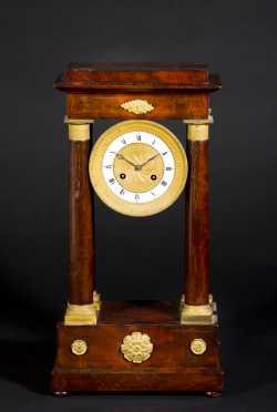 French Charles X Mahogany Portico Clock