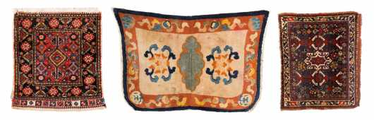 Chinese Saddle Blanket and Two Bag Face Oriental Rugs