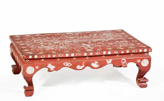 Chinese MOP and Wire Inlaid Red Resin Coated Low Table