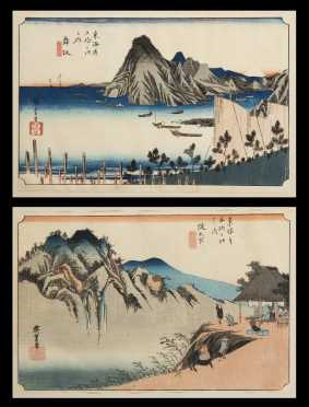Ado Hiroshige, (1797-1858), Japanese, Two Prints