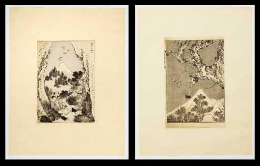 Katsushika Hokusai, Japan (1760-1849), Two Woodblock Prints