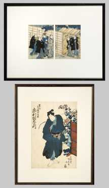 Two Japanese Woodblock Prints by Kunisada- AVAILABLE FOR $100