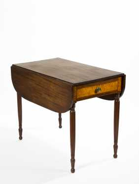 NH Mahogany One Drawer Sheraton Pembroke Table