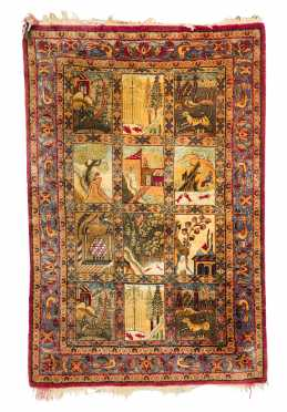 Small Kashan Silk Hanging Rug