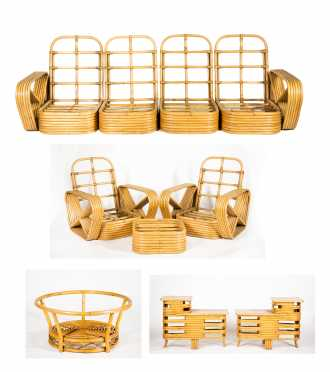 Paul Frankl Square Pretzel Rattan Set in Art Deco Style