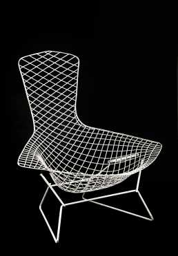 Two Bertoia Cage Chairs with Ottoman
