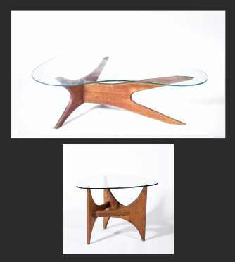 Adrian Pearsall Kidney Coffee Table and Fin Side Table