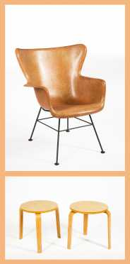 Two Alvar Aalto Style Bentwood Stools and Eames Style Molded Fiberglass Chair