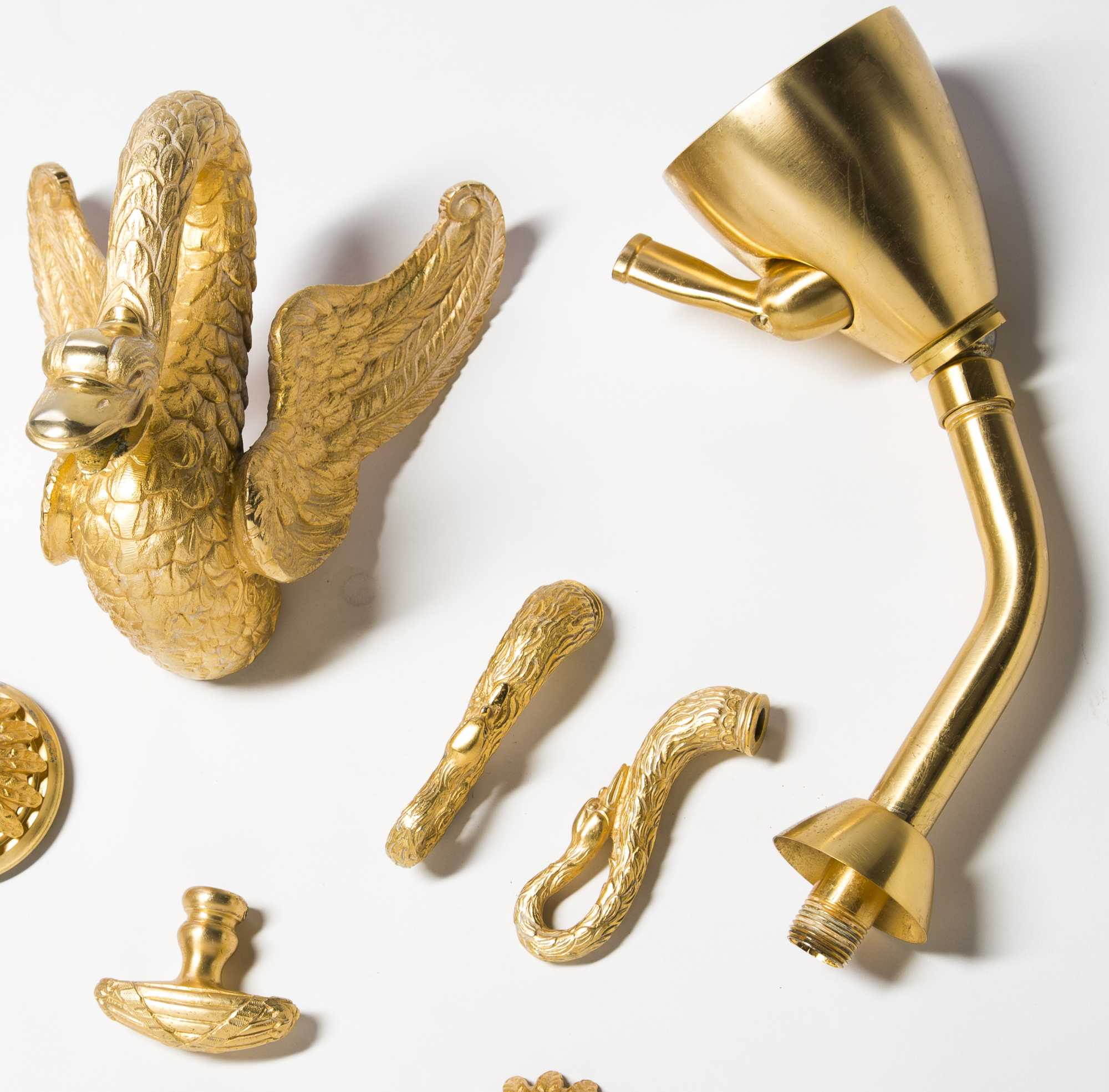 Sherle Wagner 24kt Gold Plated Swan Shower And Tub Fixtures