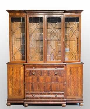 English Mahogany Breakfront Cabinet
