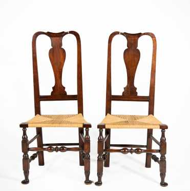 Pair of New England Queen Ann Side Chairs