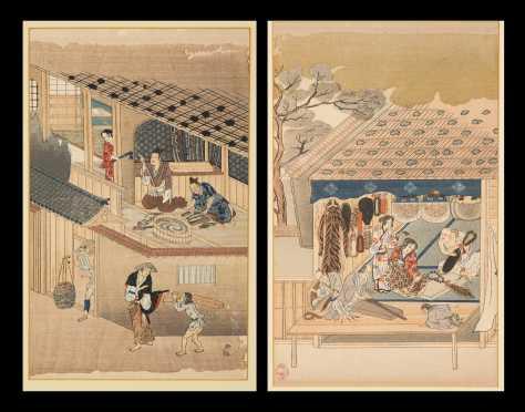 "19thC Japan ""Trade Scene"" Block Prints"