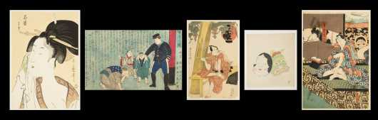 "Two ""Kabuki Actors"" Japanese Block Prints and Three Others"