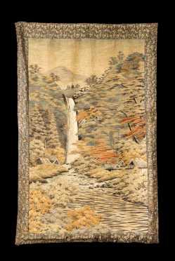 Japanese Silk Needlework Pictorial Wall Hanging
