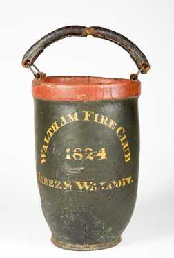 """Waltham"" (Mass) Leather Fire Bucket, ""JABESZ S. WALCOTT Waltham Fire Club 1824"""
