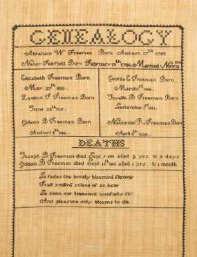 Needlework Genealogy of Freeman/Fairfield Families
