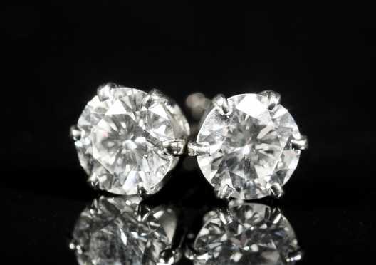 Diamond Studs in 14kt. White Gold