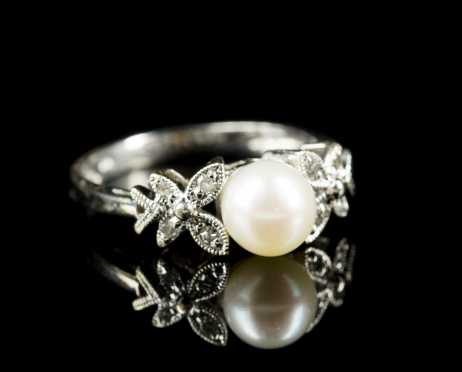 Pearl and 14kt. White Gold Ring