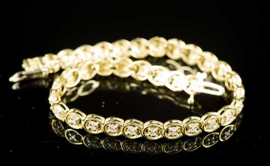 Diamond and 18kt. Yellow Gold Tennis Bracelet