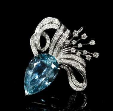 Aquamarine, Diamond and 14kt. White Gold Brooch