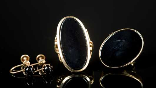 Onyx and 10kt. Yellow Gold Set of Three