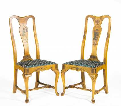 Pair of Paint Decorated Queen Anne Style Chairs