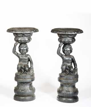 Pair of Cast Iron Classical Style Urns