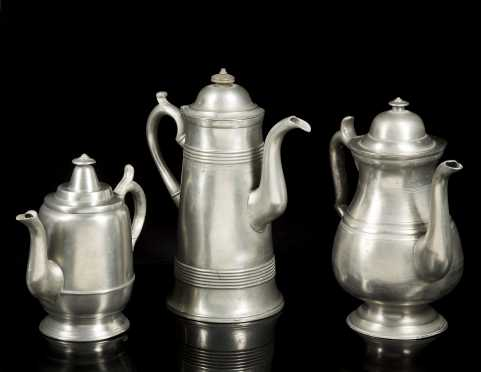 Israel Trask Pewter Coffee Pot Plus Others