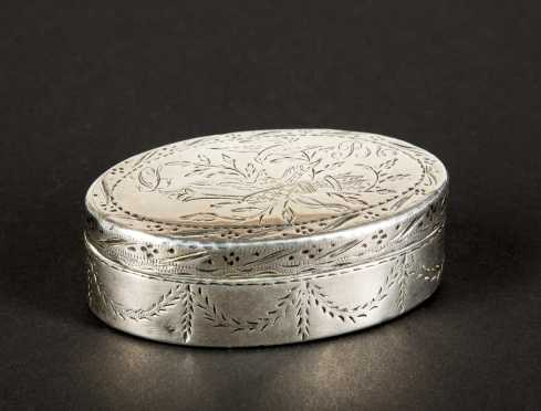 Coin Silver Oval Snuff Box