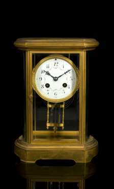 Tiffany & Co. Brass and Glass Mantel Clock