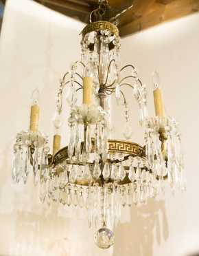 20thC French Style Brass and Glass Chandelier