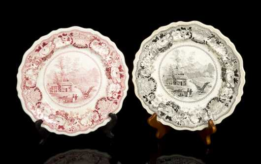 Two Staffordshire Scenic Plates