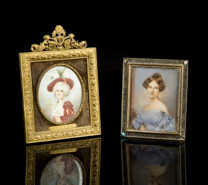 Two European Miniature Portraits of Ladies
