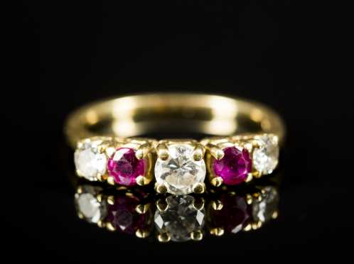 Diamond and Ruby Ring in 18kt. Yellow Gold