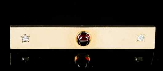 Tie Clip in 14kt. Gold with Garnet and Diamonds