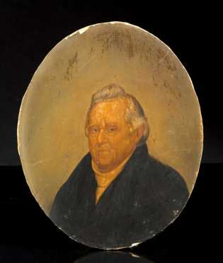 Oil on Board Portrait of Col. William Barton (1748-1831) in His Later Years