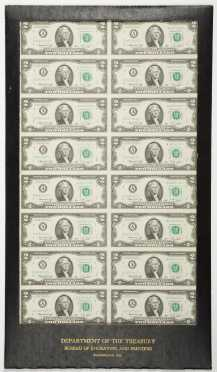Sheet of Uncut 16 $2.00 Federal Reserve Notes